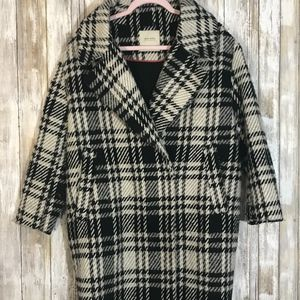 Zara Black & White Wool Blend Long Coat